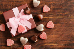 Chocolate candy hearts. Date on Valentines Day Royalty Free Stock Photos