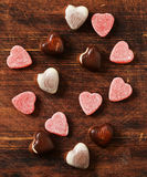 Chocolate candy hearts. Date on Valentines Day Stock Photo