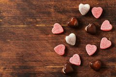Chocolate candy hearts. Gift for a holiday. Royalty Free Stock Image