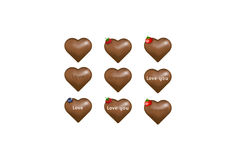 Chocolate candy hearts with love notes. Vector  Royalty Free Stock Photo