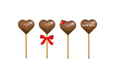 Chocolate candy hearts with a strawberry. Vector. Stick of Chocolate Candy Hearts with or without red bow, strawberry and Love Letter Stock Images