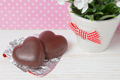 Chocolate candy hearts Royalty Free Stock Image