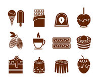 Chocolate and candy icons set Royalty Free Stock Photo
