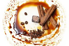Chocolate candy with anice and cinnamon. Chocolate candy isolated with anice and cinnamon stock photography
