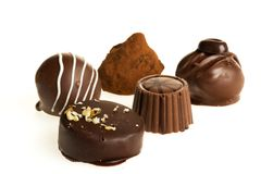 Dark & milk chocolate candies / pralines stock image
