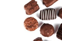 Chocolate candy isolated on white. Background. Food ingredients Royalty Free Stock Photo