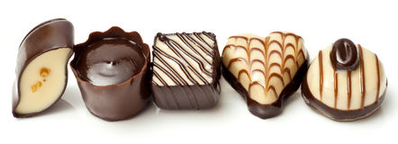 Chocolate candy line Royalty Free Stock Photo
