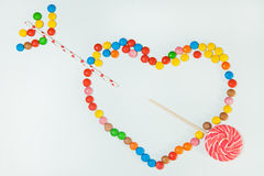 Chocolate Candy Lollipop White Background Lay Flat Heart Arrow Stock Photo