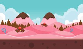 Chocolate Mountain Video Game Background. Chocolate and candy mountain for creating 2d video game background Royalty Free Stock Photos