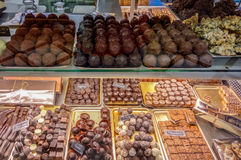 Chocolate candy in pastry shop Royalty Free Stock Photography