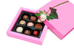 Chocolate candy in pink box Royalty Free Stock Images