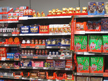 Chocolate or candy on a store shelf. Stock Image