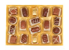 Chocolate candy, sweet dessert closeup, gift box. Isolated on white background royalty free stock images