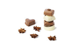 Chocolate candy tower on white Royalty Free Stock Images