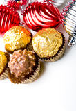 Chocolate candy treats Christmas New Year holiday. Chocolate candy treats with Christmas New Year holiday theme decoration background stock images
