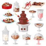 Chocolate candy vector sweet confection dessert with cocoa in glass jar in confectionery shop illustration of tasty. Choco truffle in vase of candyshop set stock illustration