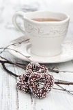 Chocolate candy on a white wooden table Stock Photo