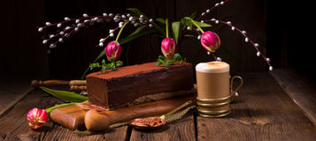 Chocolate cappuccino cake Royalty Free Stock Photography