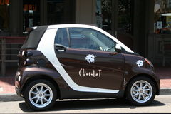 Chocolate Car. Cute Smart Fortwo decorated with chocolate pattern parked in the street of Puerto Rico Stock Photos