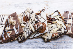Chocolate caramel bark pieces. Assorted chocolate caramel bark pieces for sweet dessert Stock Photo