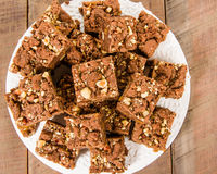 Chocolate caramel brownies with nuts Royalty Free Stock Image