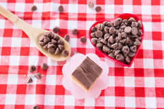 Chocolate Caramel Candy Cookie With Chips In Heart Shaped Bowl Royalty Free Stock Photos