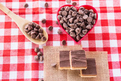 Chocolate Caramel Candy Cookies With Chocolate Chips In Heart Bo Stock Images