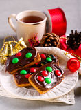 Chocolate and caramel candy decorated Christmas cookies Royalty Free Stock Images