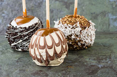 Chocolate or caramel covered apples Royalty Free Stock Photography