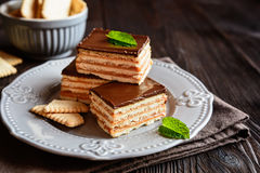 Chocolate caramel cracker bars Royalty Free Stock Image