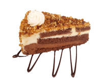 Chocolate and caramel cream cake with nuts Stock Photo