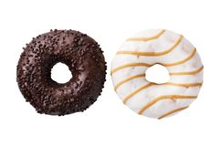 Chocolate and caramel donuts isolated on white background