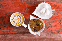 Chocolate caramel latte with walnut crisp bread Stock Photos