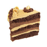 Chocolate and caramel layer cake. Piece of Chocolate and caramel cake isolated on white. Layers of chocolate cake, chocolate mousse and caramel butter cream stock images