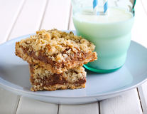 Chocolate and caramel oat bars Royalty Free Stock Photography