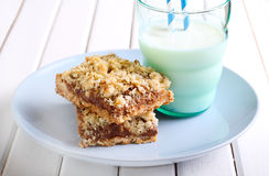 Chocolate and caramel oat bars Royalty Free Stock Images