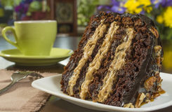 Chocolate caramel and pecan cake. Single slice of chocolate caramel and pecan cake ready to enjoy stock photos
