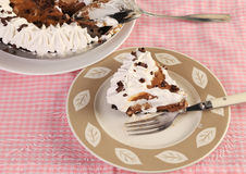Chocolate and Caramel Pie Stock Images