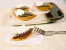 Chocolate and caramel tart. Chocolate and caramel mini tarts with whipping cream stock image