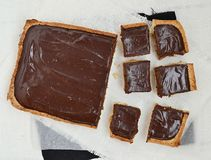 Chocolate-caramel tart Stock Photos
