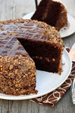 Chocolate Caramel Toffee Cake Royalty Free Stock Photography