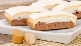 Chocolate, Caramel & Vanilla Cake Stock Images