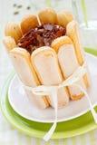 Chocolate and cardamom cake. With savoiardi Stock Photos