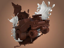 Chocolate cartoon car, chocolate splash,milk chocolate in cartoon car Royalty Free Stock Photos