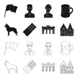 Chocolate, catedral e outros símbolos do país Ícones ajustados da coleção de Bélgica no preto, símbolo do vetor do estilo do esbo Imagens de Stock Royalty Free