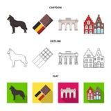 Chocolate, catedral y otros símbolos del país Iconos determinados de la colección de Bélgica en la historieta, esquema, vector pl Imagen de archivo libre de regalías