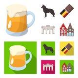 Chocolate, catedral y otros símbolos del país Iconos determinados de la colección de Bélgica en la historieta, símbolo plano del  Imagen de archivo
