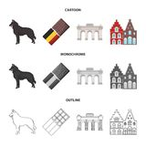 Chocolate, cathedral and other symbols of the country.Belgium set collection icons in cartoon,outline,monochrome style. Vector symbol stock illustration Royalty Free Stock Image