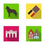 Chocolate, cathedral and other symbols of the country.Belgium set collection icons in flat style vector symbol stock Royalty Free Stock Photo