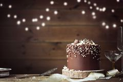 Chocolate celebration cake royalty free stock photo